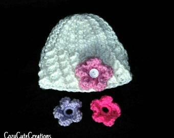 Crochet Baby Girl Hat With Interchangeable Flowers