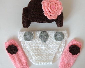 Princess Leia Costume Set 3pcs Baby Hat , Diaper Cover And Leg Warmers From Star Wars Newborn - Halloween / Cosplay