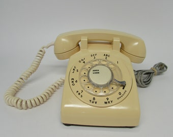 Cream Rotary Dial Telephone ~ Bell System Western Electric ~ Mad Men Dial Desk Phone ~ Mid Century Décor ~ 1960s Telephone ~ Retro