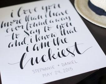 Custom Hand-Lettered Calligraphy Print 11x14