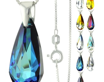 925 Sterling Silver Faceted Teardrop Swarovski Crystal Pendant Necklace