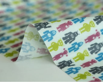Laminated Cotton Fabric Robot Pink By The Yard