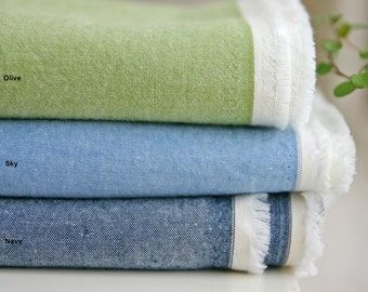 Chambray Cotton Fabric in 3 Colors By The Yard