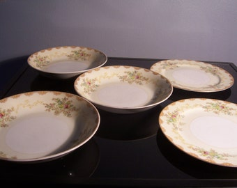 5 Piece Vintage Meito China Plate and Bowl Set