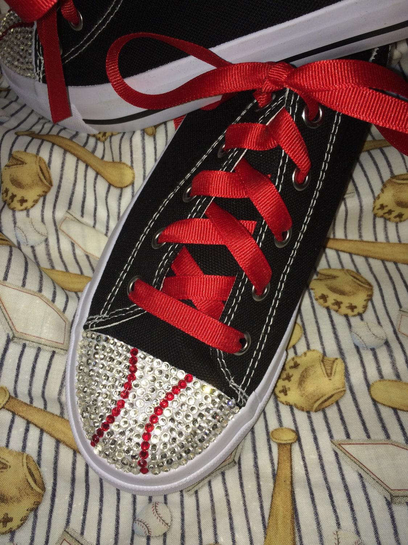 rhinestone baseball or softball tennis shoes by