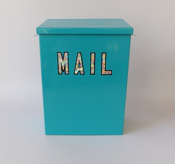 Metal Envelope Wall Decor : Mailbox mail box metal turquoise wall mount envelope style