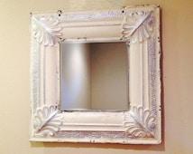 Antique ceiling tile mirror,white with silver, tin mirror, ceiling tile