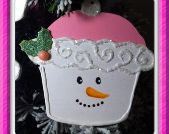 Pink snowman cupcake ornaments.