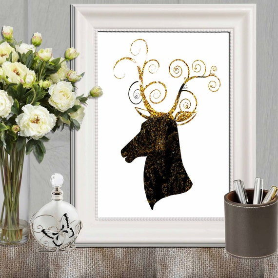 Wall Art Black Gold : Black and gold decor baroque print deer wall