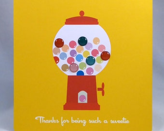 Bright and cheerful lolly jar card-Thanks for being such a sweetie