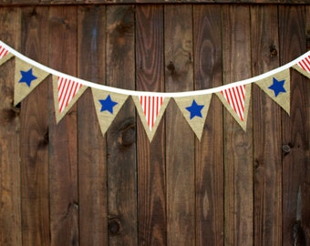 July 4th Patriotic Burlap Bunting Banner with Red and White Stripe, and Blue Star Pennants for Memorial Day, BBQ Decoration, or Photo Prop