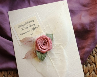 Handmade Birthday Card PERSONALISED For Her Girlfriend Wife Sister Niece Mum Best Friend Daughter Dusty Pink Rose 18th 21st 30th 40th 50th