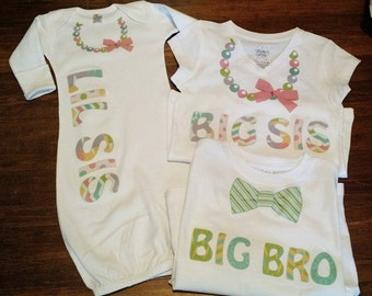 Set of 3 Sibling Shirts pastel ~ Sibling Shirts ~ Big Sister ~ Little Sister ~ Big Brother ~ Sister ~ Brother
