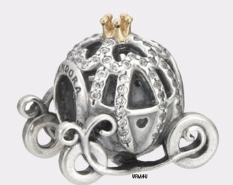 Authentic Pandora Disney Cinderella's Pumpkin Coach Charm with 14k