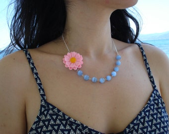 Something Blue!! Vintage Bib Statement Necklace.A Fresh-Picked Pink-Yellow Flower is Hand Wirred with Blue Cat Eye Beads.Great Gift Idea