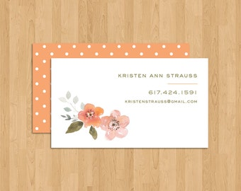 BUSINESS CARDS - Floral Charm Watercolor Business/Personal/Calling Cards
