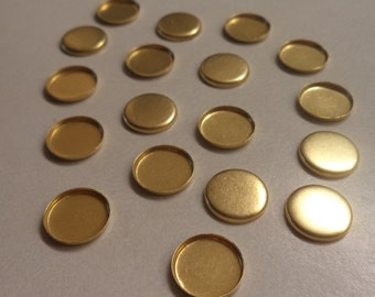 10mm brass round low wall closed back bezel cup settings 18 pcs per lot