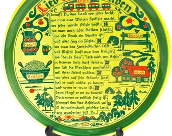 Vintage Lied der Schwaben Wall Plate by Schramberger Majolikafabrik