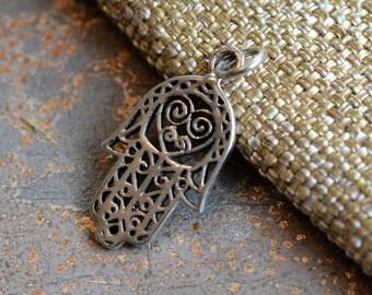 Sterling Silver Hand of Fatima Charm, Heart Motif, Hamsa Charm, Heart Charm,Protection, Amulet,Hamsa Hand,Bohemian Jewelry Findings,KP15074