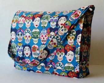 Frida Kahlo Messenger Bag, Frida Kahlo Tote Bag, Messenger Bag, Book Bag, Frida Bag, Sugar Skull Bag, Sugar Skulls Purse, Dia De Los Muertos