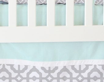 15% OFF SALE- Mint and Gray Mod Lattice Bumperless Crib Bedding | 2 or 3 Piece Set