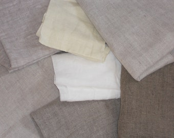 Prewashed linen remnants, assorted natural flax fabric scraps bundle, medium weight destash pure linen for sewing crafting scrapbooking
