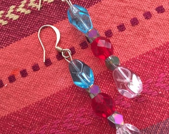 Blue, red and pink earrings