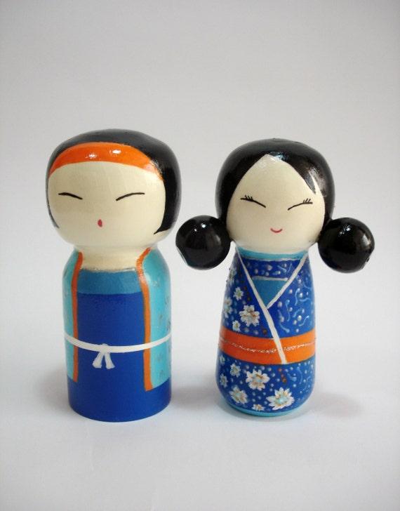 Japanese Baby Gift Ideas : Kokeshi doll wooden dolls japanese couple samurai girl