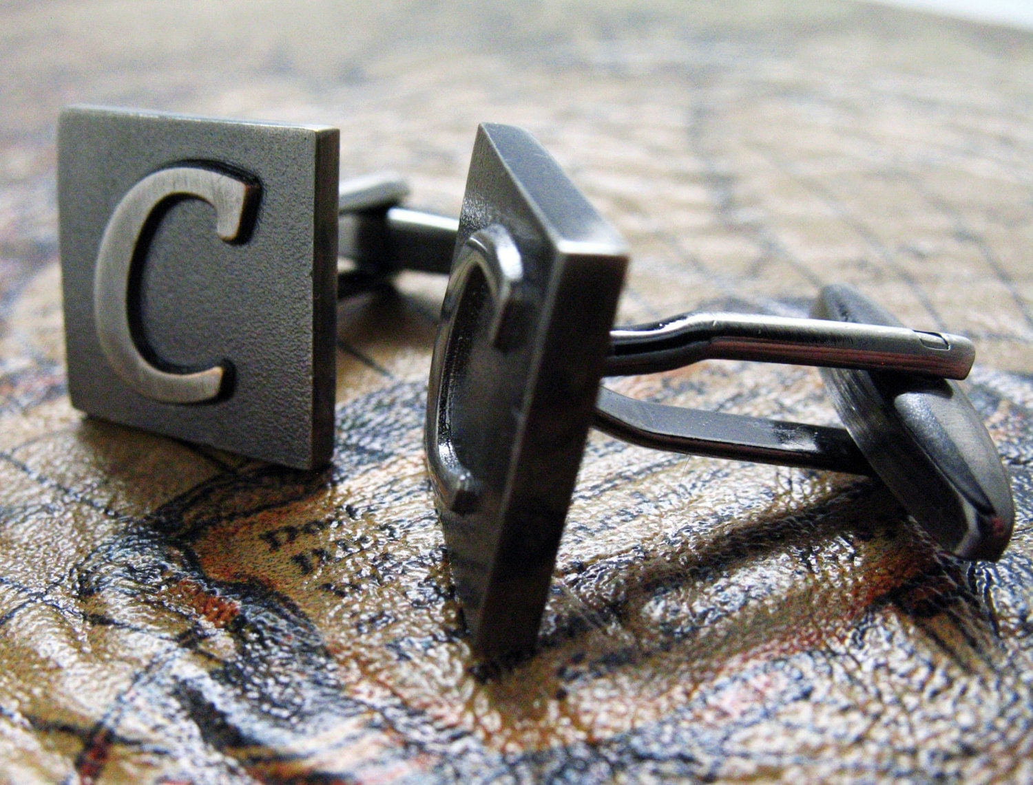 c initial cufflinks gunmetal square 3 d letter c vintage english letters cuff links groom