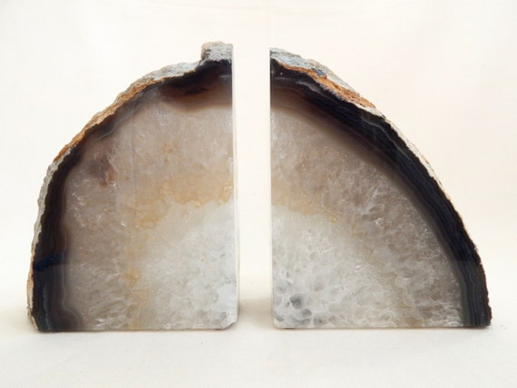Large crystal geode bookends agate rock bookends - Geode bookends ...