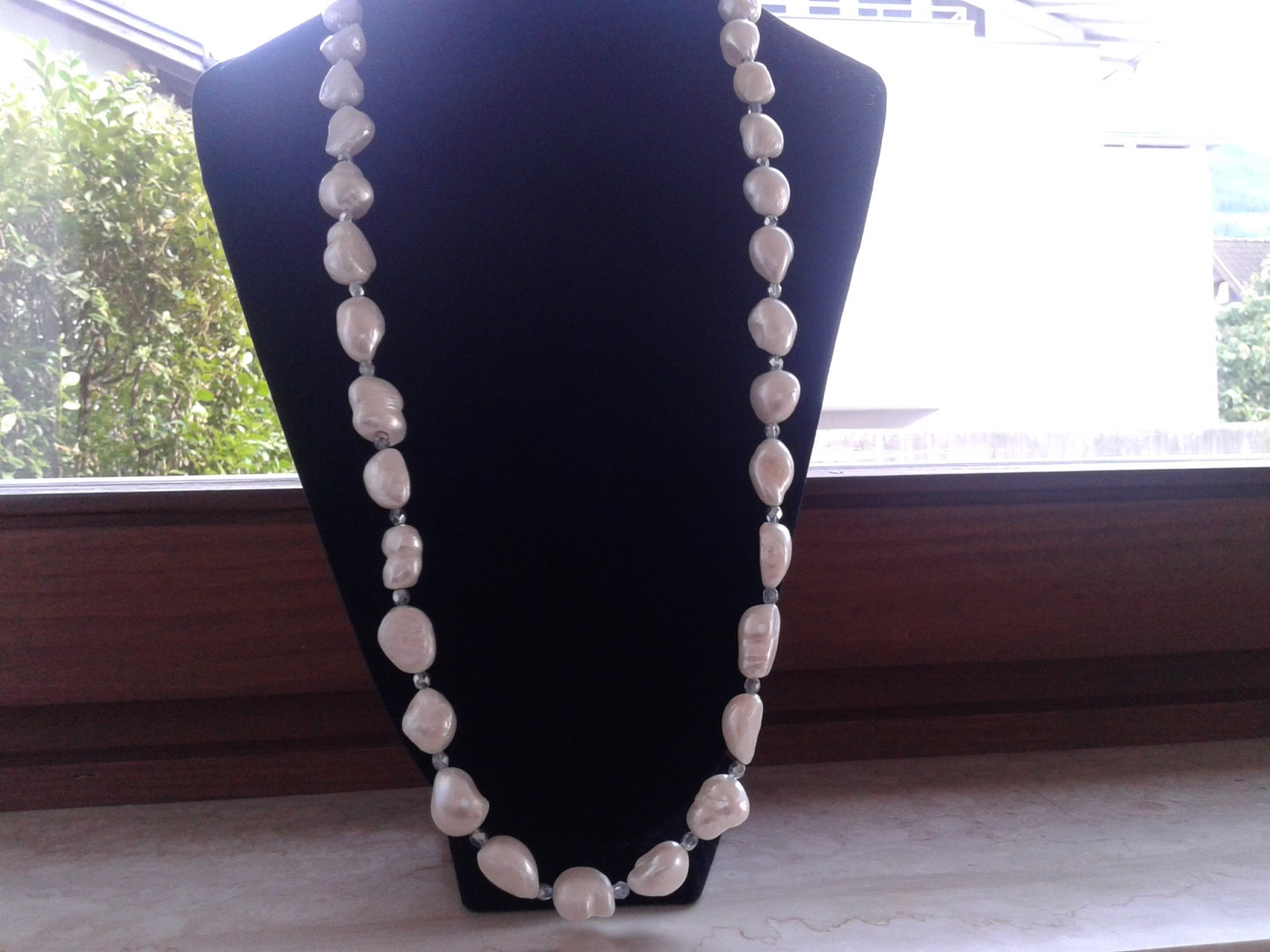Necklace Handmade With Large White Baroque Pearls Ayu
