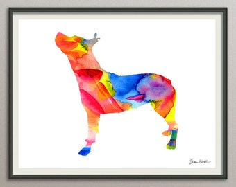 pitbull dog art print watercolor print poster painting wall art silhouette , dog wall art