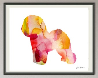bichon frise dog art print watercolor print poster painting wall art silhouette , dog wall art