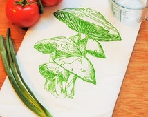Organic Cotton Dish Towel - Hand Screen Printed - Green Mushroom Design - Towel is Perfect for Dishes