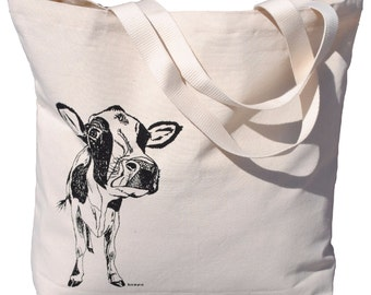 Black Cow Canvas Tote Bag - Screen Printed Cotton Market Tote Bag - Bridal Shower Gift - Barnyard Theme