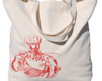 Nautical Canvas Beach Tote - Screen Printed Cotton Oversize Tote Bags - Bridal Shower Gift - Lobster Chef