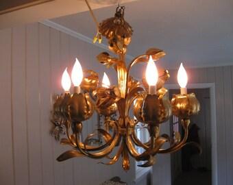 Original,Gold Gilt Tole 6 light Tulip bouquet Chandelier...Fabulous lighting...