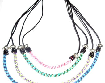 New fashion handmade necklace with leather and  Kumihimo braiding  in Bolivia, unique for summer