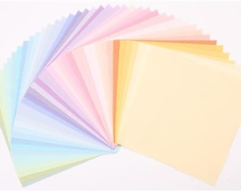 Robert Kaufman Pre-cut Fabrics, Ten-Square, Pastel Palette, 42 Pieces, 100% Cotton