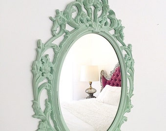 Ornate Nursery Mirror Mint Green Distressed Bathroom Mirror Shabby Chic, Large Wall Mirror