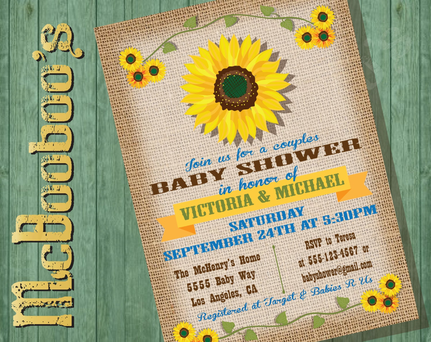 sunflower baby shower invitations on a burlap background