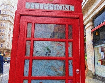 Christmas gift present home decor interior design wall art house warming new home birthday anniversary engagement painting London Phone Box