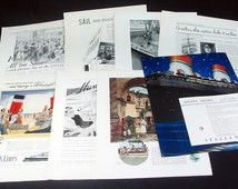 8 Original Vintage Cruise Line/Ship Advertising Pages from the 1930s ~ Cunard Line, Matson Line, Italian Line & more! Color + b/w !