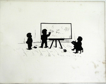 1877 B/W Silhouette Illustration of Children Going Back to School! Wonderful Book Page Engraving For SEPTEMBER with Poem by L T Howison !