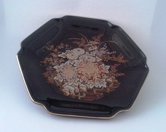 Six Sided Gold Edged Jet Black Plate with Colorful Flowers