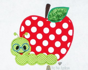 Back to School Apple with Worm Machine Applique Embroidery Design
