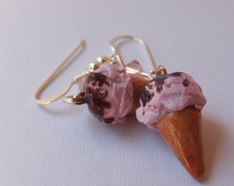 Strawberry Ice Cream Waffle Cone with chocolate sauce Dangle Earrings made from polymer clay and sterling silver.