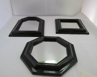 Vintage Burwood Set of 3 Small Wall Mirrors in Shiny Black Plastic Burwood mirror small mirror set black framed mirror geometric mirror