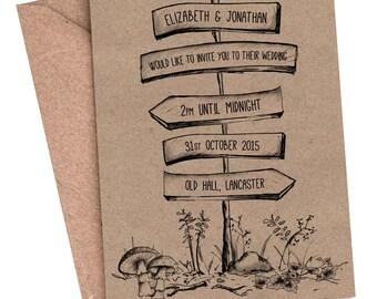 Wedding Invitation, woodland wedding, rustic invitation, forest wedding, country wedding, vintage wedding, recycled kraft card, unique