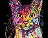 T-Shirt: Abyssinian Cat - Dean Russo Art on solid color